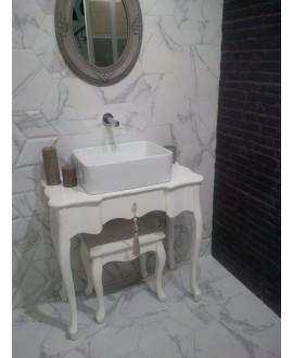 Carrelage hexagone tomette imitation marbre satiné blanc veiné de gris 28.5x33cm, salle de bain realzairecarrara
