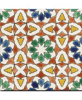 Carrelage décor azzahra hiver D 20x20cm peint à la main