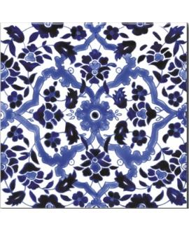 Carrelage émaillé à la main décor orient bleu 20x20x0.8cm D ispahan bleu