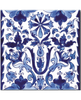 Carrelage décoré émaillé à la main D samarra bleu 20x20cm