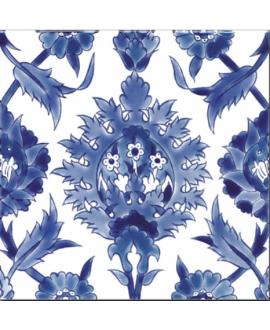 Carrelage décoré émaillé à la main D palmyre bleu 20x20cm