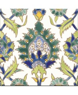 Carrelage décoré émaillé à la main D palmyre vert sur fond ivoire 20x20cm