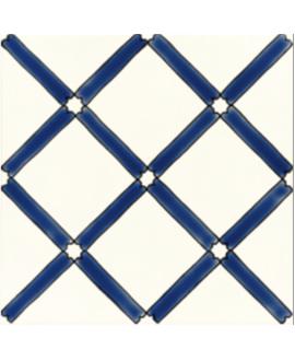 Carrelage décoré émaillé à la main D pergola bleu sur fond ivoire 20x20cm