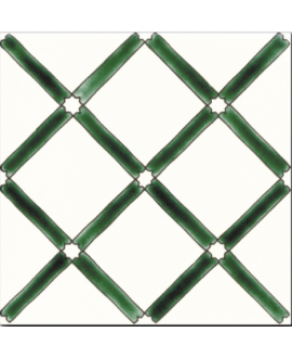 Carrelage décoré émaillé à la main D pergola vert sur fond ivoire 20x20cm