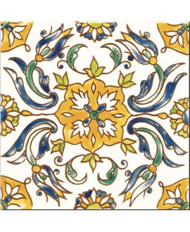 Carrelage décoré émaillé à la main D constantine sur fond ivoire 20x20cm