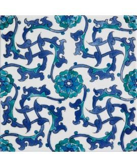 Carrelage décoré émaillé à la main craquelé adalia 20x20cm