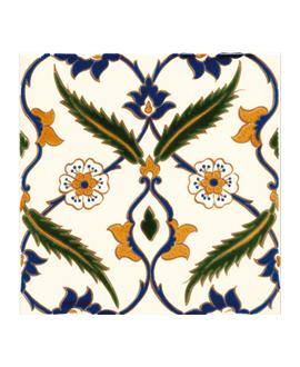 Carrelage décoré D ottoman sur fond ivoire 20x20cm