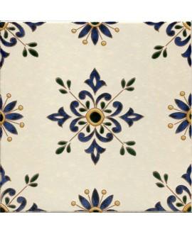 Carrelage décoré D zina allégé sur fond ivoire 20x20x0.7cm tradition