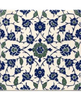 Carrelage décoré D narmin sur fond ivoire 20x20x0.7cm de tradition