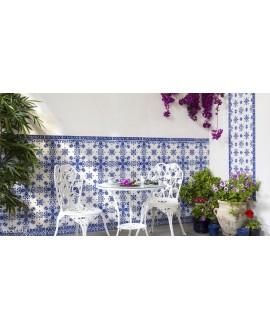 Carrelage décoré D zina bleu allégé 20x20x0.7cm tradition