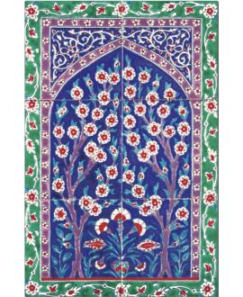 Fresque décorée émaillée 40x60cm, cerisiser sur fond ivoire, composée de 6 carreaux de 20x20cm