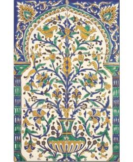 Fresque décorée émaillée 40x60cm, kallaline sur fond ivoire, composée de 6 carreaux de 20x20cm