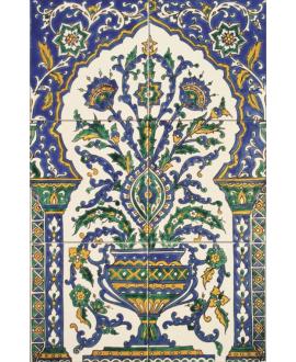 Fresque décorée émaillée 40x60cm, bouquet artisanal sur fond ivoire, composée de 6 carreaux de 20x20cm
