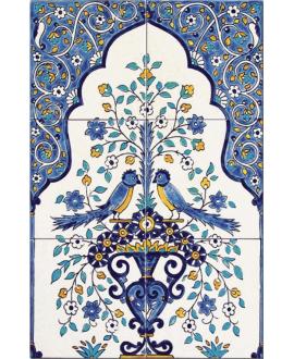 Fresque décorée émaillée 40x60cm, shalimar sur fond ivoire, composée de 6 carreaux de 20x20cm