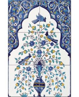 Fresque décorée émaillée 40x60cm, D miramar sur fond ivoire, composée de 6 carreaux de 20x20cm