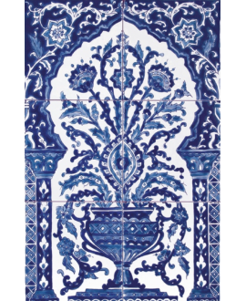 Fresque décorée émaillée 40x60cm, D bouquet bleu, composée de 6 carreaux de 20x20cm