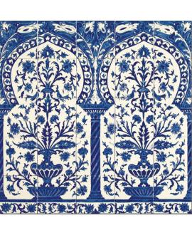 Fresque décorée émaillée 100x100cm, D kinz bleu, composée de 25 carreaux de 20x20cm