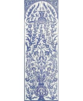 Fresque décorée émaillée 60x180cm, D yakout sur fond ivoire, composée de 27 carreaux de 20x20cm