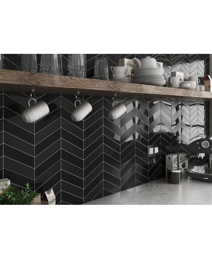 Carrelage Chevron A Pans Coupes Equichevron Wall Right Noir Brillant 18 6x5 2cm