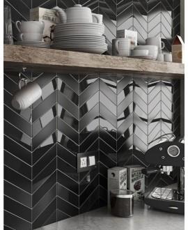 Carrelage chevron, à pans coupés, Equichevron Wall Left et Right noir brillant 18.6x5.2cm