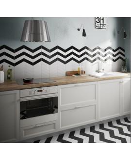 Carrelage chevron, à pans coupés, Equichevron Wall blanc et noir mat 18.6x5.2cm