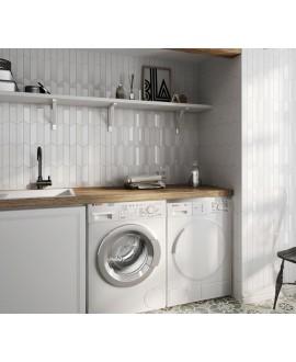 Carrelage chevron, à pans coupés, Equichevron Wall Right blanc brillant 18.6x5.2cm