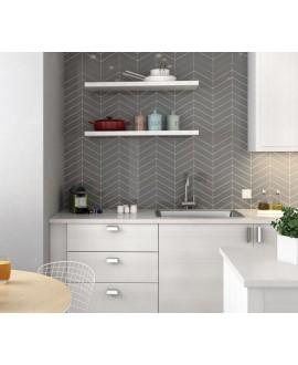 Carrelage chevron, à pans coupés, Equichevron Wall Left gris foncé brillant 18.6x5.2cm