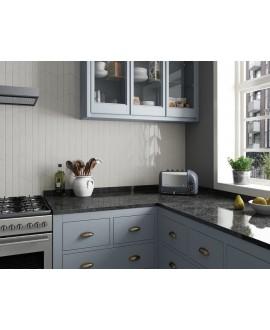 Carrelage chevron, à pans coupés, Equichevron Wall Right light grey brillant 18.6x5.2cm