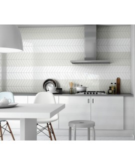 Carrelage chevron, à pans coupés, Equichevron Wall Right mint et blanc brillant 18.6x5.2cm