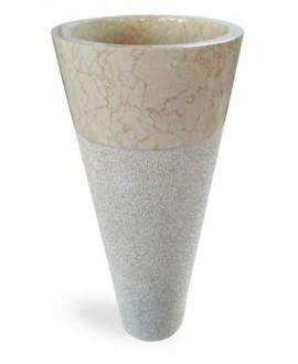Vasque en pierre sur pied ronde MO circular beige diamètre:40cm hauteur:90cm