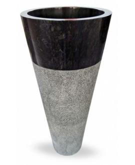 Vasque en pierre sur pied ronde MO circular noire diamètre:40cm hauteur:90cm