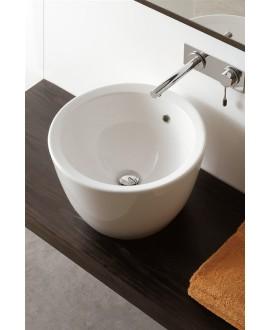 Vasque en céramique blanc brillant à poser 46x46cm hauteur 30cm, scamatty