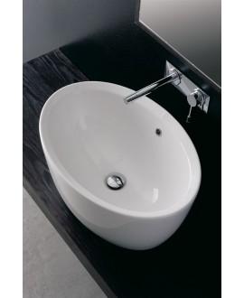 Vasque en céramique ovale blanc brillant à poser 64x46cm hauteur 30cm, scamatty