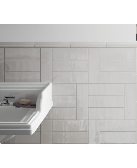Carrelage salle de bain rectangulaire contemporain gris clair brillant equipcountry