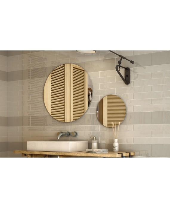 Carrelage salle de bain rectangulaire contemporain gris perle 13.2x40cm et gris clair 6.5x40cm brillant equipcountry