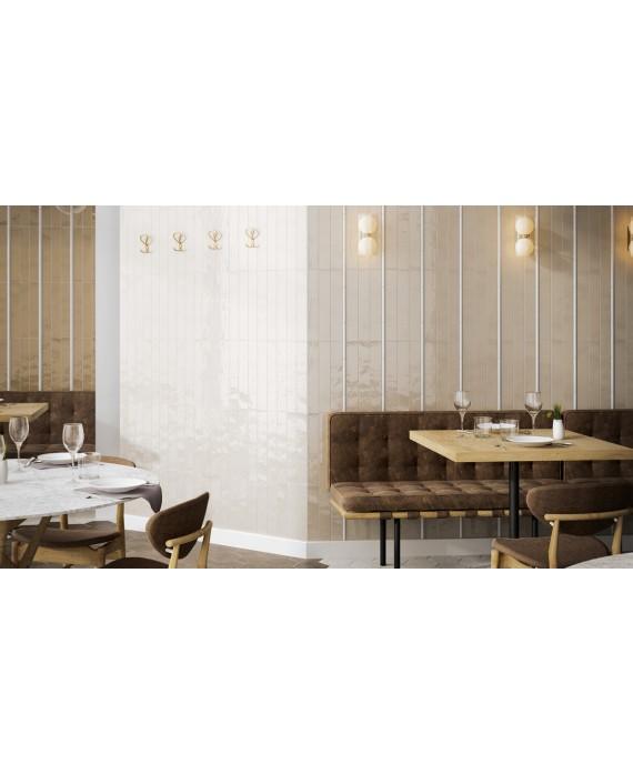 Carrelage cuisine rectangulaire contemporain 6.5x40cm tobacco, blanc et vison brillant equipcountry