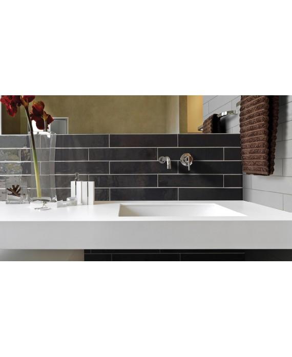 Carrelage salle de bain rectangulaire contemporain anthracite brillant equipcountry