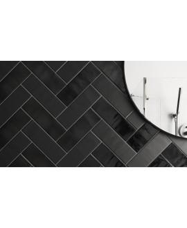 Carrelage rectangulaire contemporain anthracite brillant et mat 6.5x20cm equipcountry
