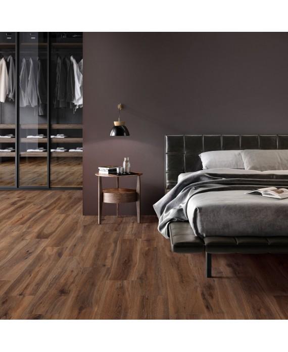 Carrelage imitation parquet foncé moderne brun, chambre, grande longueur XXL 30x180cm rectifié,  santabwood cherry