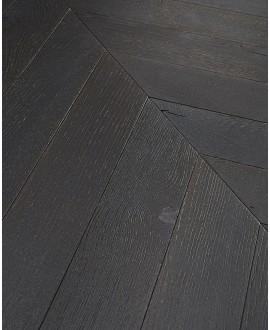 Parquet chêne massif français point de hongrie, brossé noir huilé, premier choix , ép : 10mm Hrég