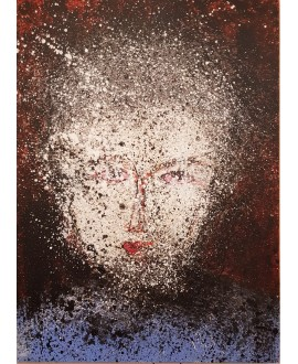 Peinture contemporaine acrylique sur toile 100x73cm représentant une tête au yeux rouges