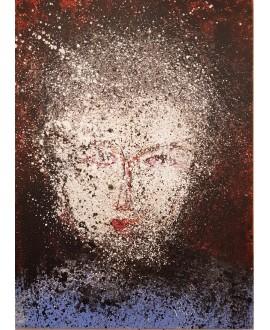 Peinture contemporaine, portrait, tableau moderne figuratif, acrylique sur toile 100x73cm représentant une tête au yeux rouges