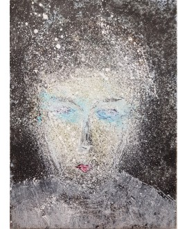 Peinture contemporaine acrylique sur toile 100x73cm représentant une tête au yeux bleus