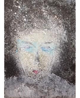 Tableau moderne, portrait, peinture contemporaine figurative,acrylique sur toile 100x73cm représentant une tête au yeux bleus