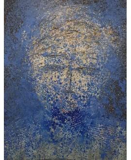 Tableau moderne, peinture contemporaine figurative, acrylique sur toile 116x89cm représentant une tête bleue