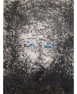 Peinture moderne, portrait, tableau contemporain figuratif, acrylique sur toile 116x89cm représentant une tête noire