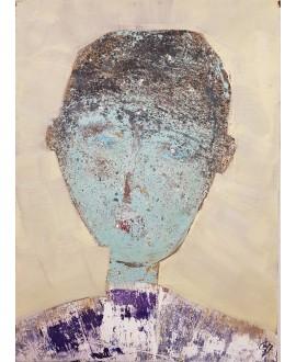 Peinture contemporaine, portrait, tableau moderne figuratif, acrylique sur toile 100x73cm représentant une tête verte