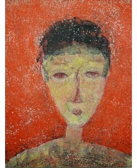 Peinture moderne, portrait, tableau contemporain figuratif, acrylique sur toile 116x89cm représentant une tête orange