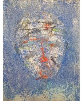 Peinture contemporaine acrylique sur toile 116x89cm représentant une tête bleue au nez orange