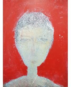 Peinture contemporaine, portrait, tableau moderne figuratif, acrylique sur toile 116x89cm représentant une tête art-déco rouge